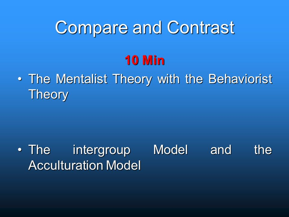 compare and contrast the behaviourist perspective Get an answer for 'compare and contrast the three theories of language acquisition' and find homework help for other language acquisition questions at enotes  skinner's behaviorism theory.