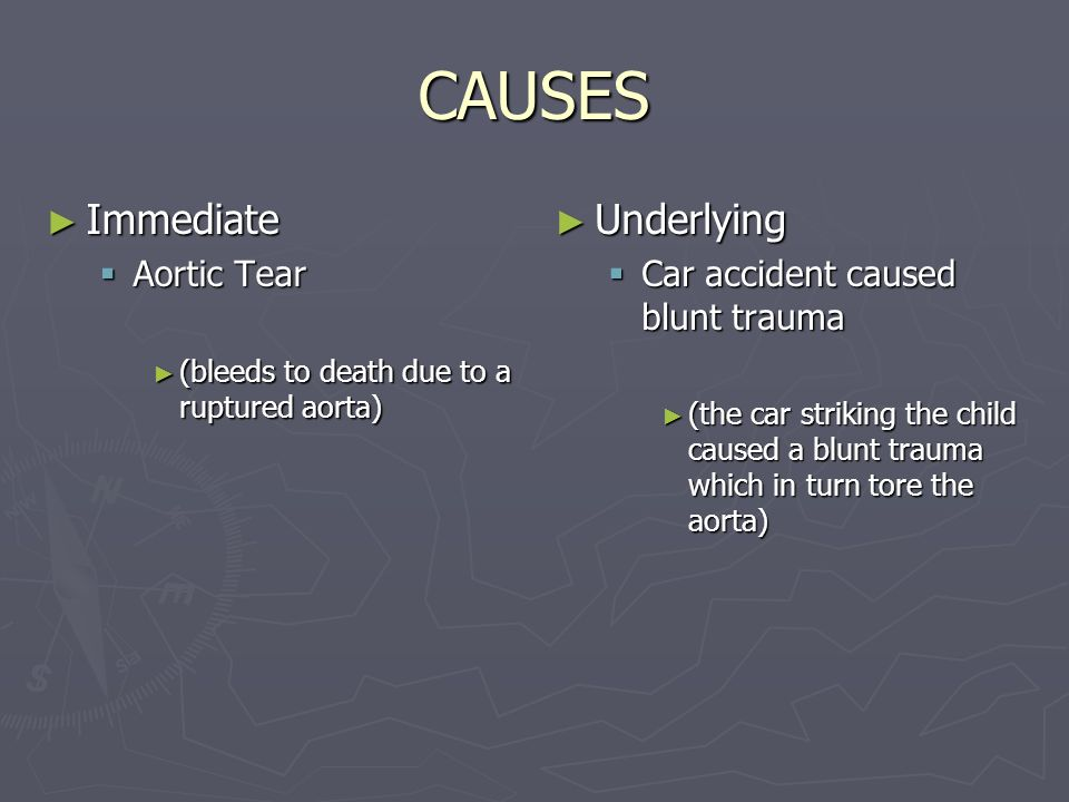 CAUSES Immediate Underlying Aortic Tear