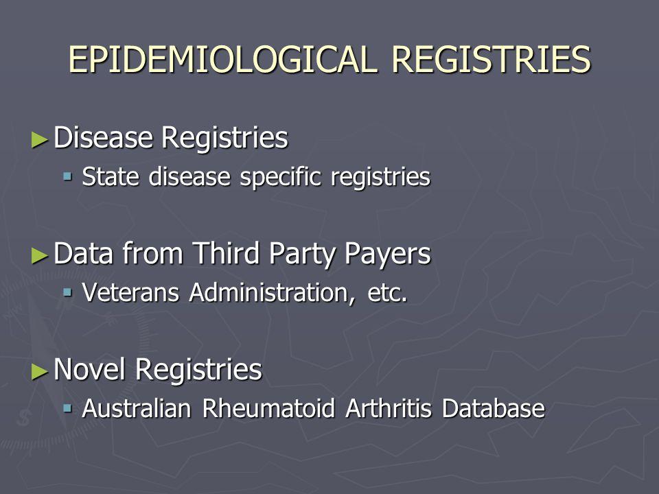 EPIDEMIOLOGICAL REGISTRIES