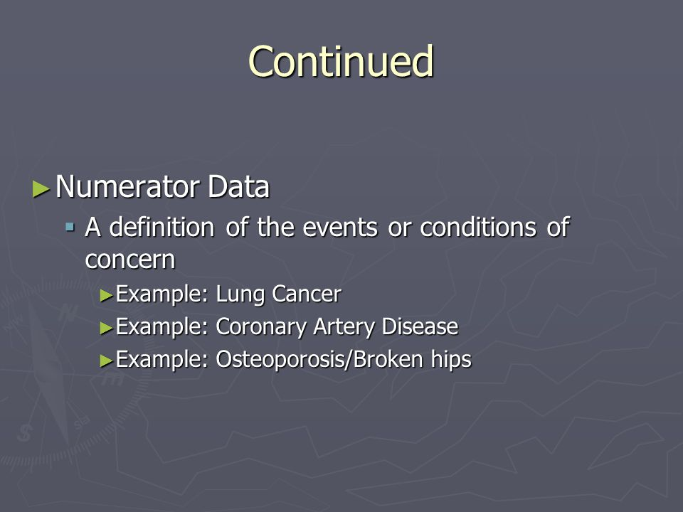 Continued Numerator Data