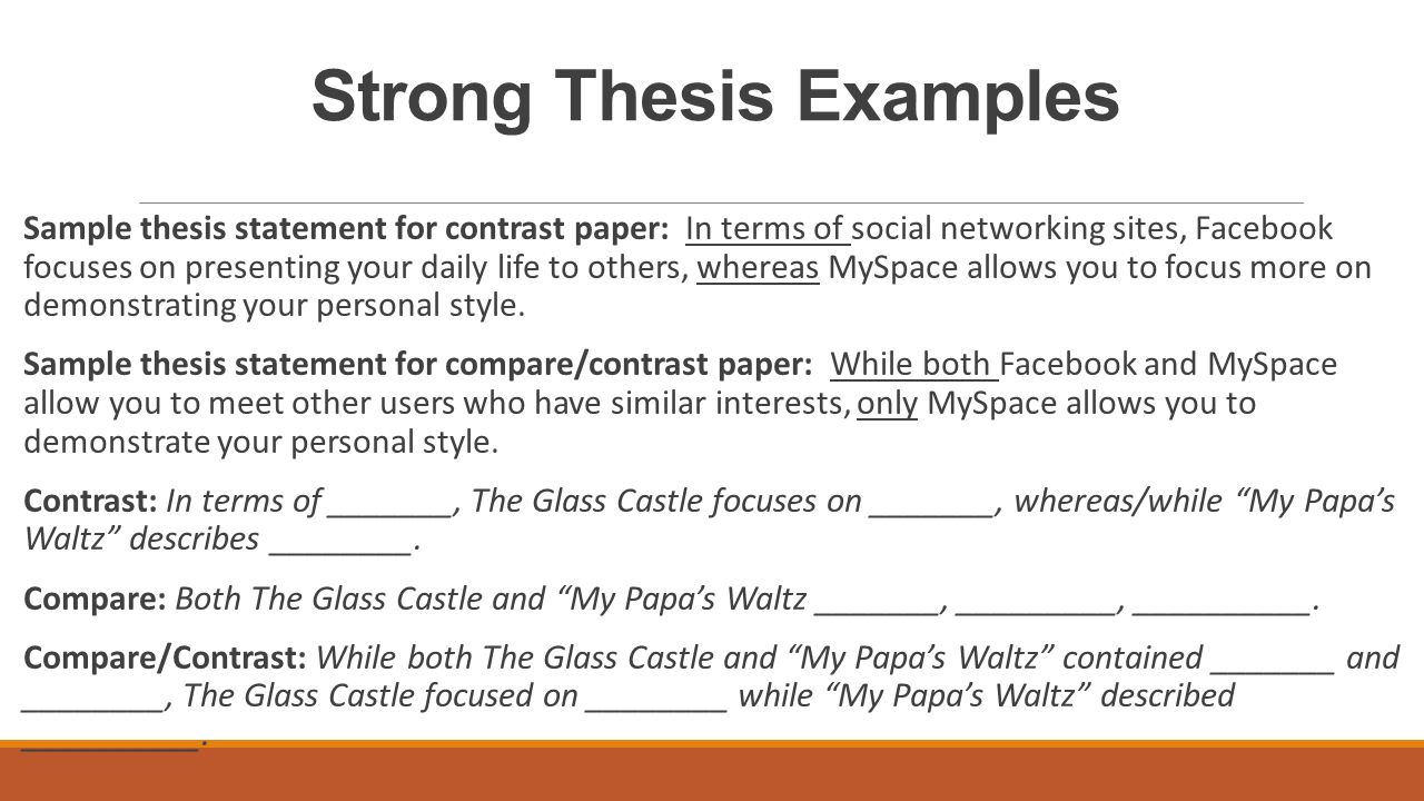 write thesis statement comparing contrasting essays Sample thesis statements for compare/contrast essays emphasizing differences over similarities: although mildred and clarisse differ in their attitudes toward life and their effect on montag, both women must eventually face the reality of.