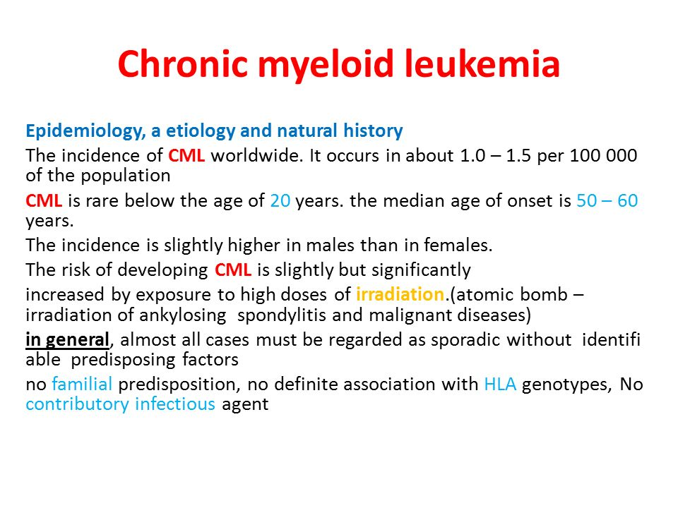 chronic myeloid leukemia Chronic myelogenous leukemia is commonly referred to as cml other names  for this type of cancer include chronic myeloid leukemia, chronic myelocytic.