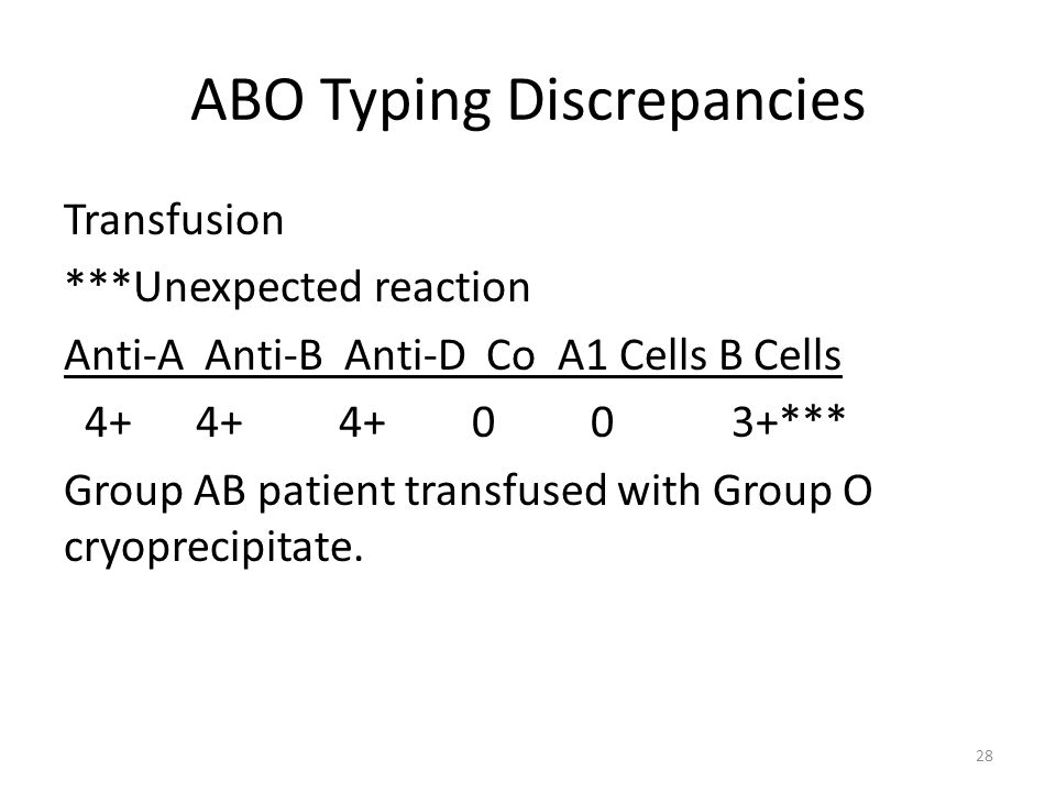 ABO Typing Discrepancies