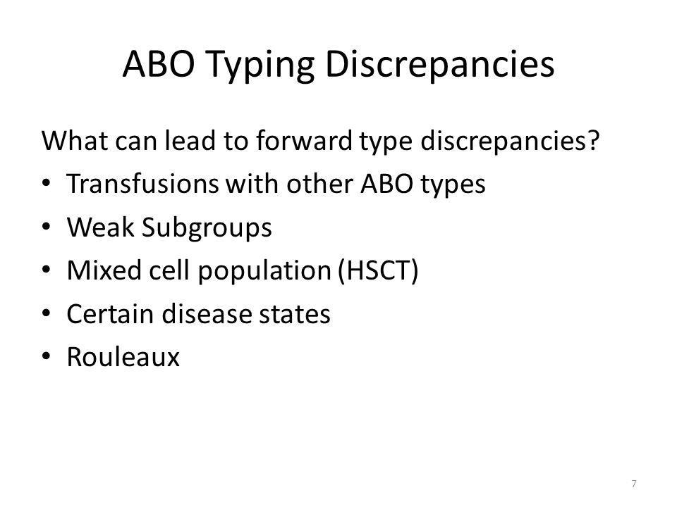 ABO Typing Discrepancies