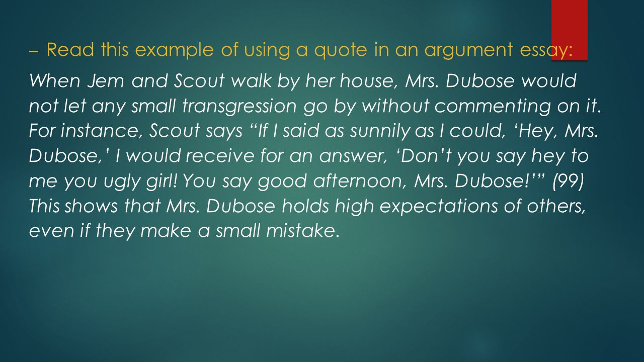 to kill a mockingbird essay outline ppt video online   this example of using a quote in an argument essay