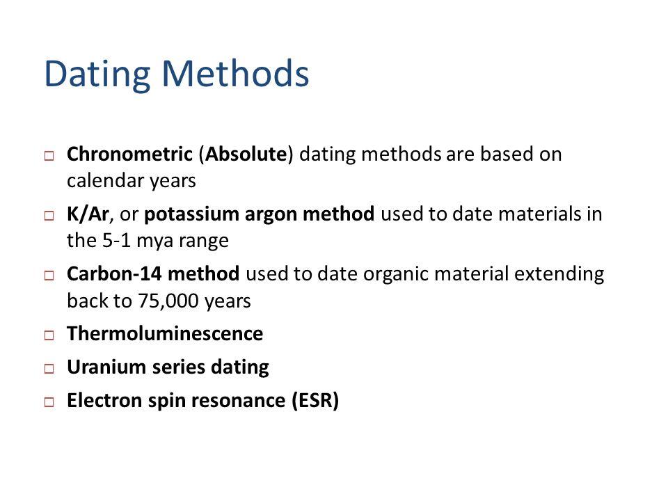 electron spin resonance dating method