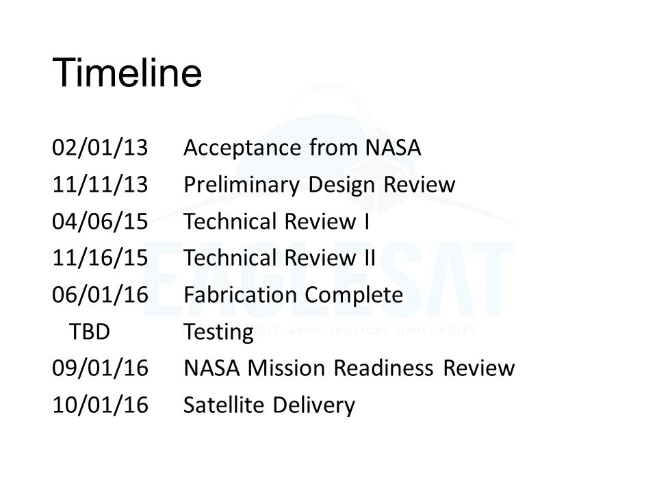 Timeline 02/01/13 Acceptance from NASA