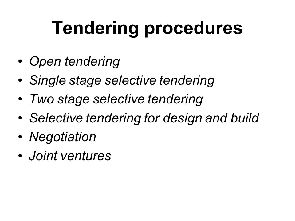 single stage tendering The trouble with single-stage tendering is that it does not generate reliable outturn costs in fact, this method of procurement often produces a fragmented project team with the contractor appointed too late to influence the design, programme or risk management strategy, and braced to claim compensation to make up for errors in its estimates.