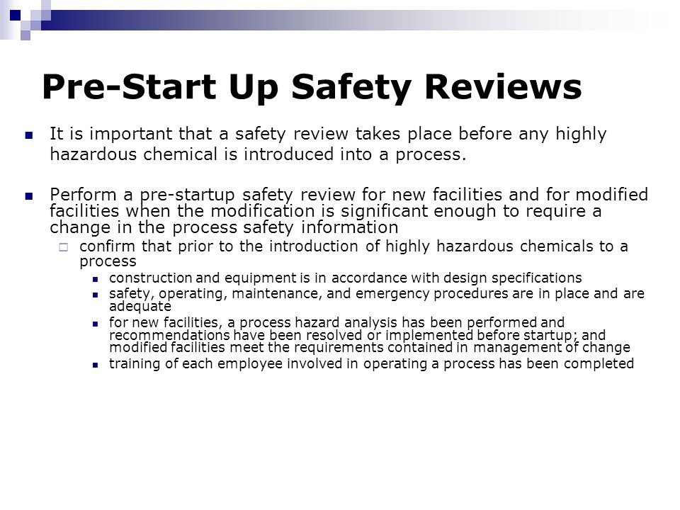 Chemical process safety ppt download 35 pre start up safety reviews pronofoot35fo Image collections