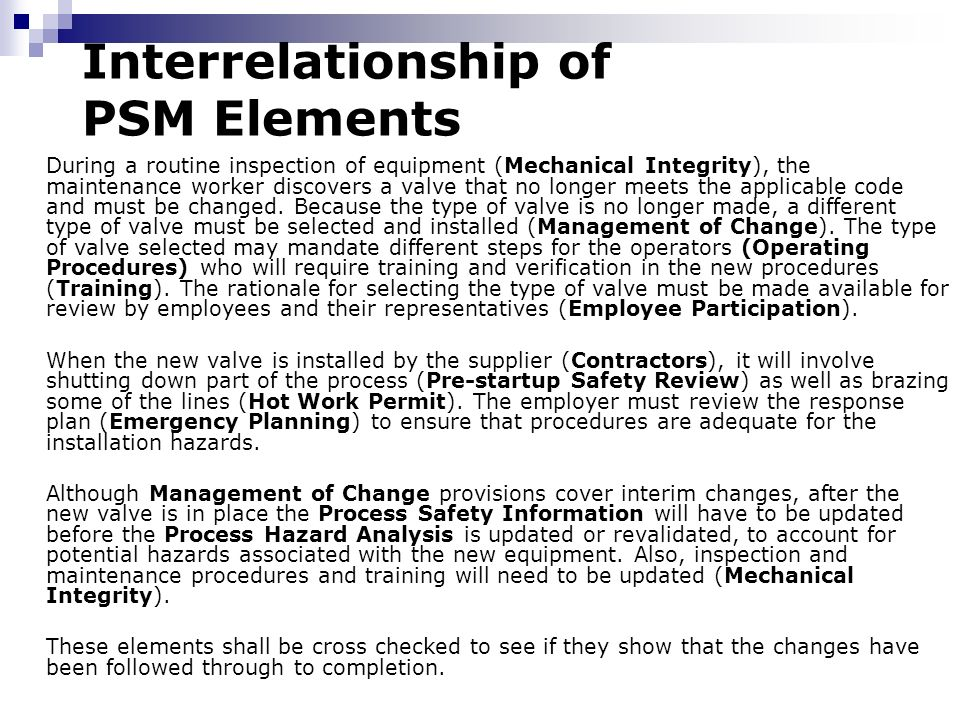 Chemical process safety ppt download 49 interrelationship of psm elements pronofoot35fo Image collections