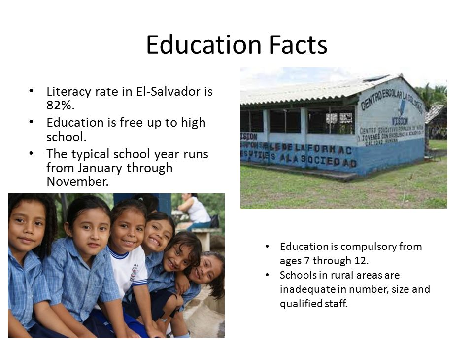 Education Facts Literacy rate in El-Salvador is 82%.