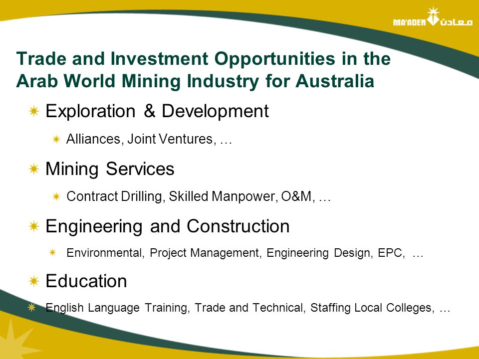 Mine Development Services : Mining in the arab world ma aden and kingdom of
