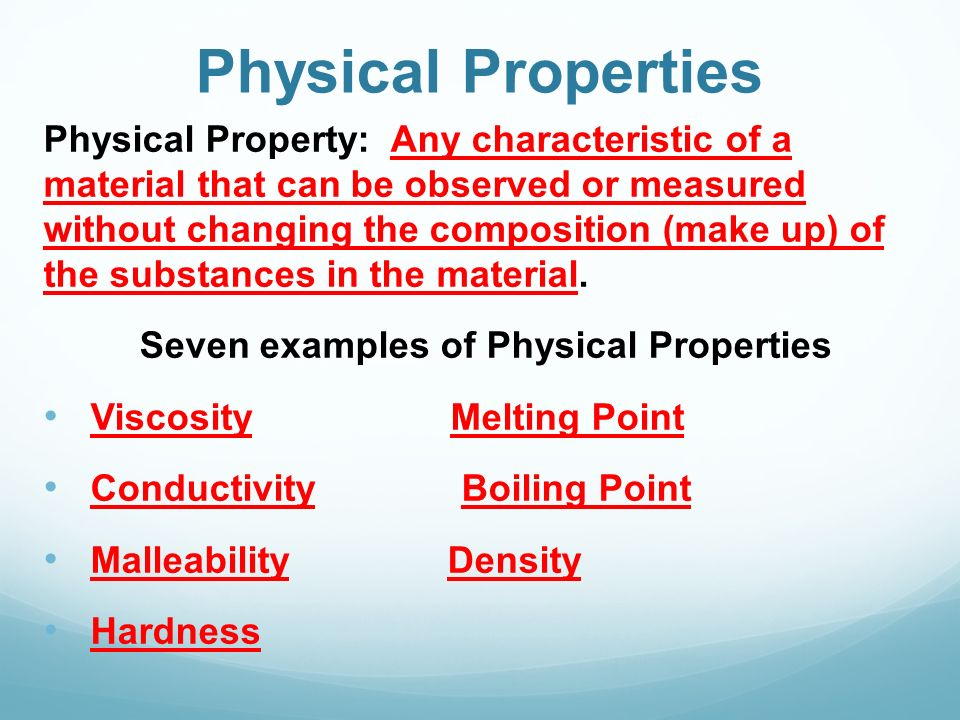 Physical and Chemical Changes - ppt video online download What Are Some Examples Of Physical Properties