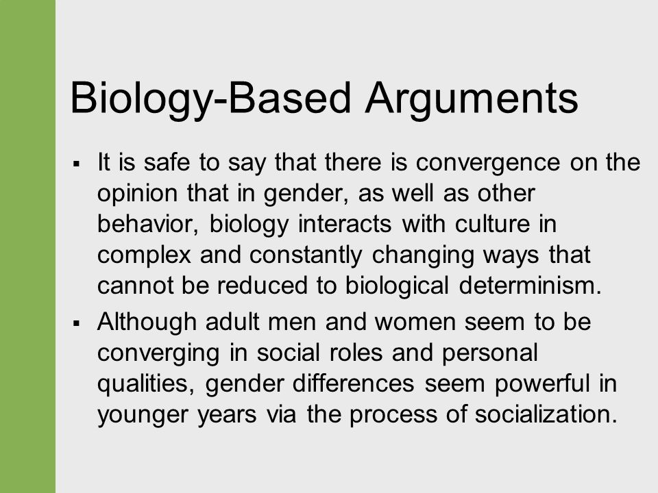 the role of biology and society in aggression of men and women However, he speculated that the findings might help explain why, as other studies have shown, women tend to respond to stress with anxiety and depression, whereas men take it out in a different way, showing more substance abuse and antisocial behavior.