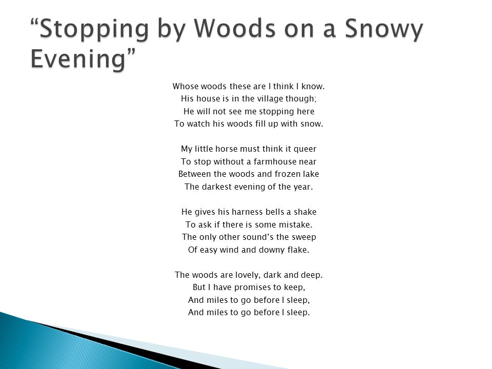 Essay on stopping by the woods