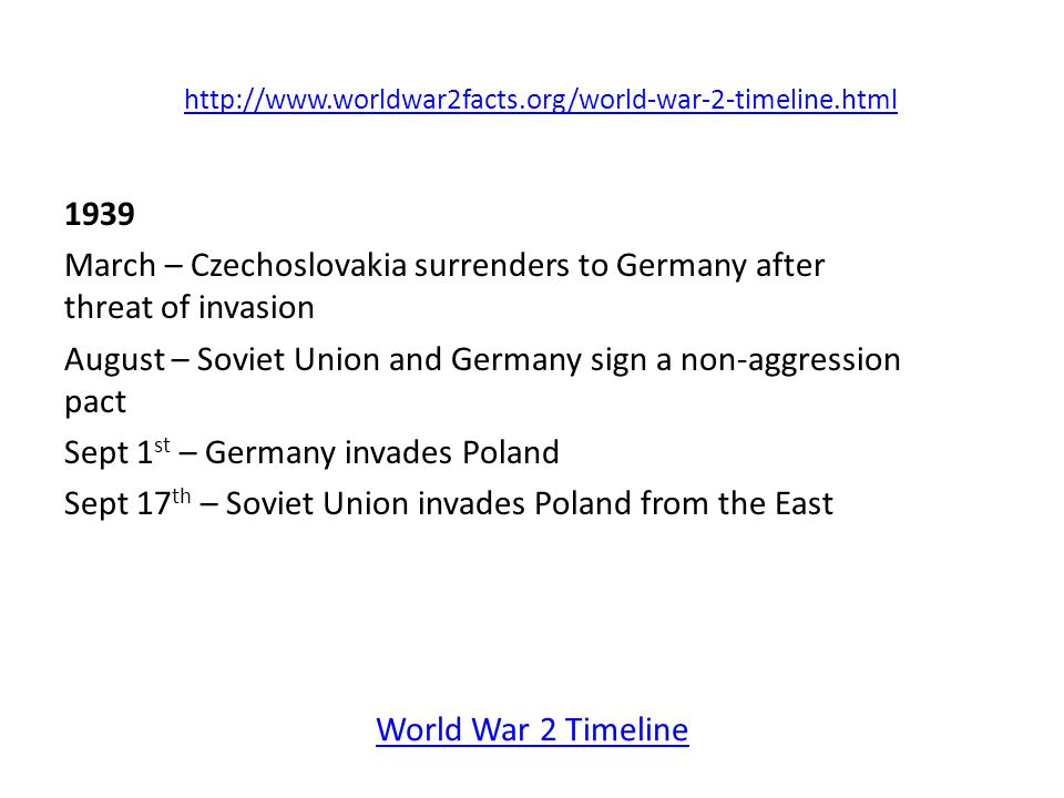 World War 2 Timeline World War II Facts. - ppt video ...
