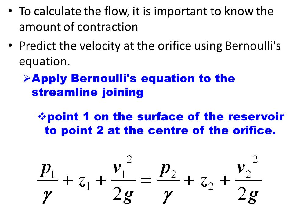 bernoulli 39 s equation. predict the velocity at orifice using bernoulli s equation. 39 equation
