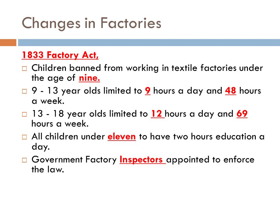 Changes in Factories 1833 Factory Act,