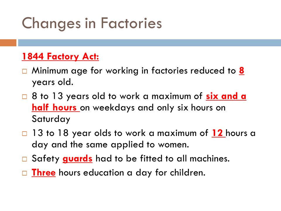 Changes in Factories 1844 Factory Act: