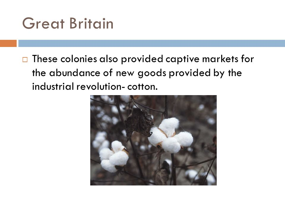 Great Britain These colonies also provided captive markets for the abundance of new goods provided by the industrial revolution- cotton.