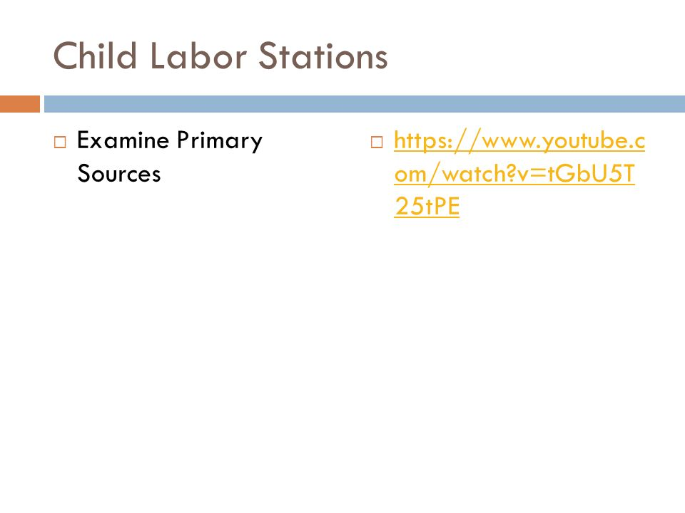 Child Labor Stations Examine Primary Sources