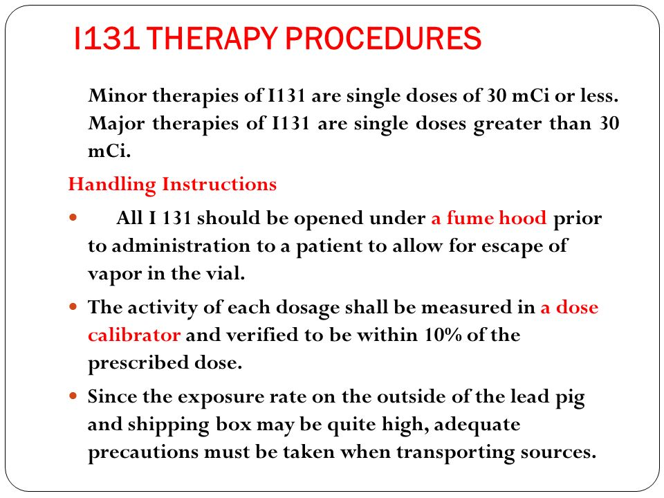 I131 THERAPY PROCEDURES