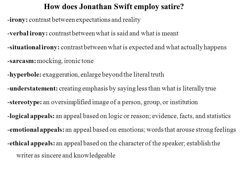 jonathan swift contrast Compare/contrast thomas jefferson and jonathan swift 1434 words feb 16th,  2013 6 pages there exists a fine line between the degree of responsibility a.