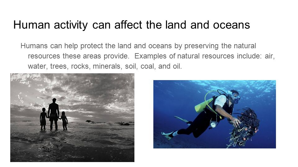 explain how human activity can affect Negative human activities that affect surface and groundwater – explain how each affect on back (can be positive or negative) •water well (must be included.