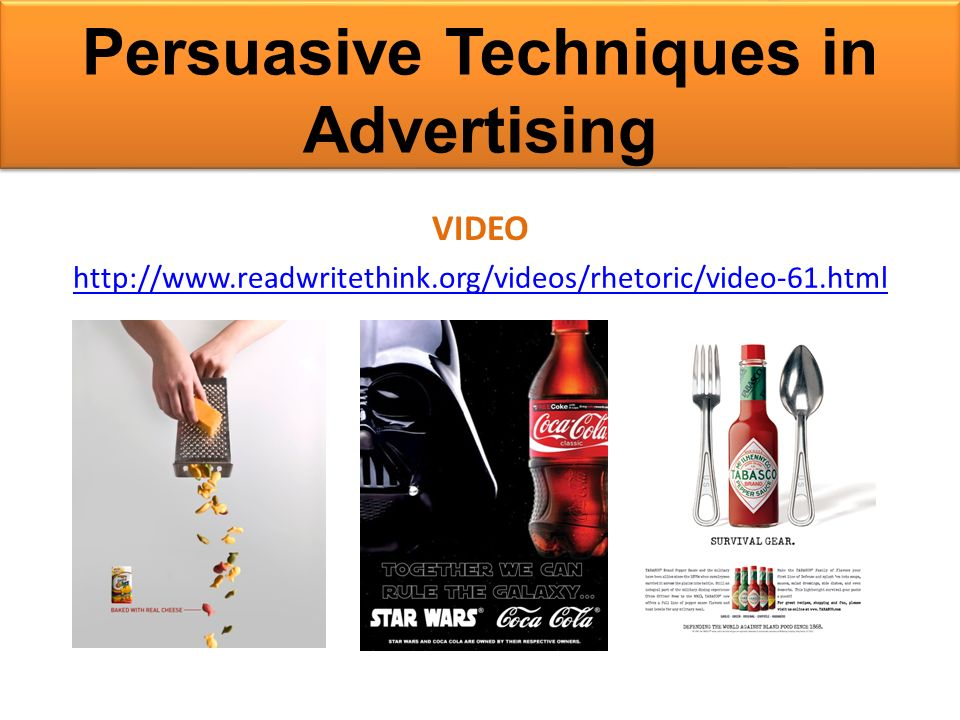 persuasive techniques in advertising essay Analysing persuasive language identify five examples of persuasive language or persuasive techniques and explain how it is supposed to make the reader feel you will often be asked to write an essay about how writers or speakers have used language to persuade.