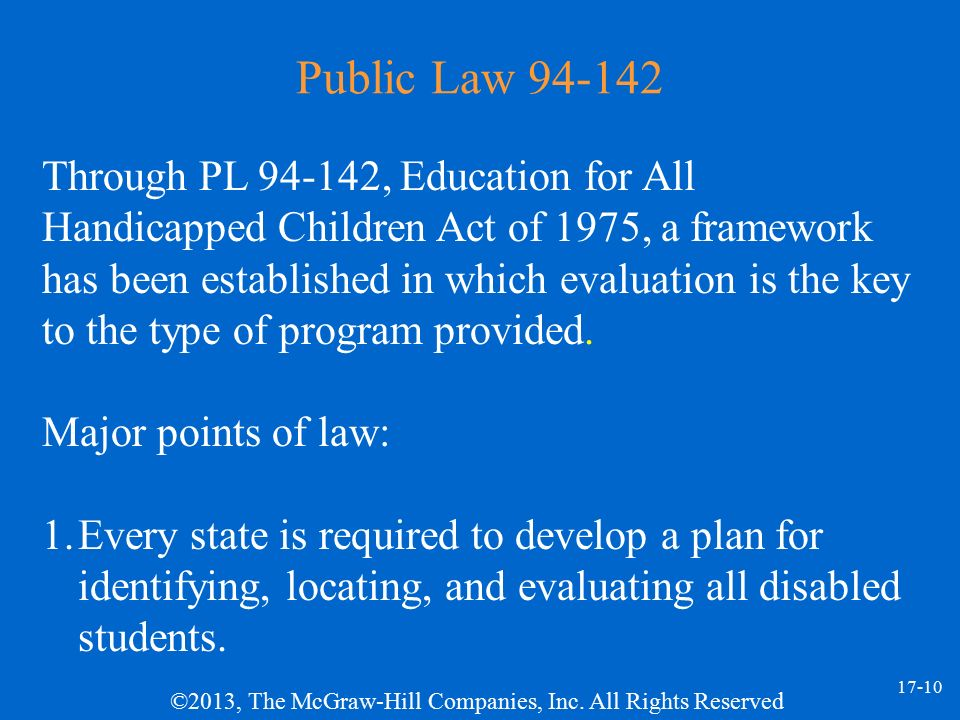public law 94 142 Public law (pl) 94-142, although greatly increasing the physician's role in delivery of services to handicapped children, falls short in meeting the needs of hearing impaired children from.