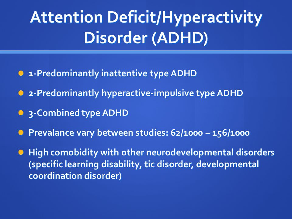 A paper on learning disabilities and the attention deficit disorder