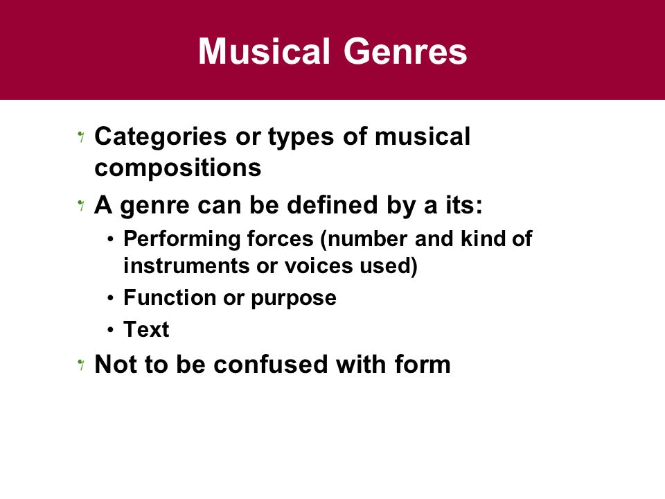 musical number types The increasing popularity of classical music led to a growth in the number and types of orchestras the expansion of orchestral concerts necessitated the building of large public performance spaces many types of music.