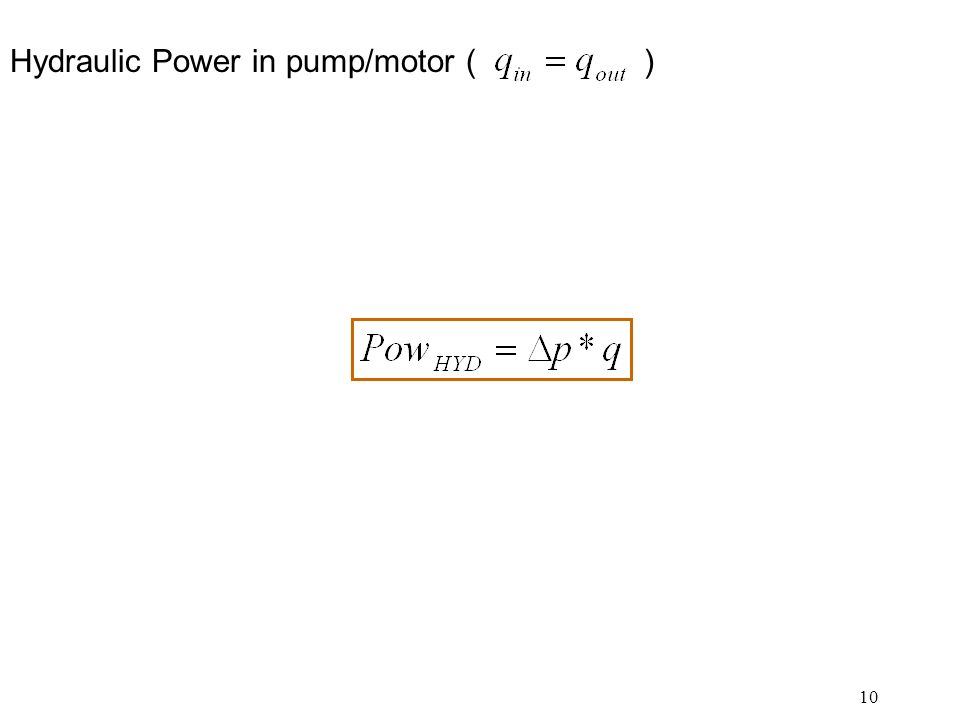 Hydraulic Power in pump/motor ( )