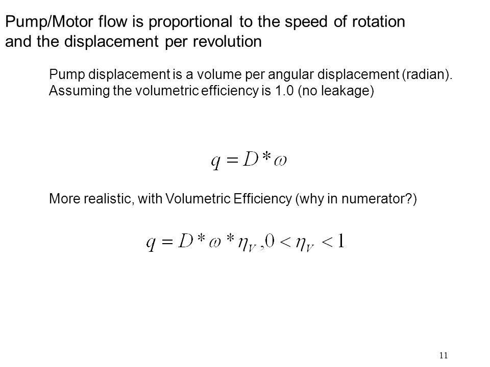 Pump/Motor flow is proportional to the speed of rotation and the displacement per revolution