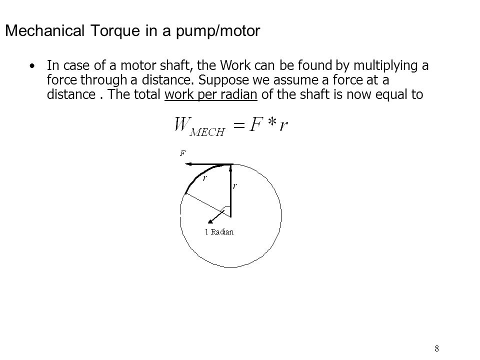 Mechanical Torque in a pump/motor