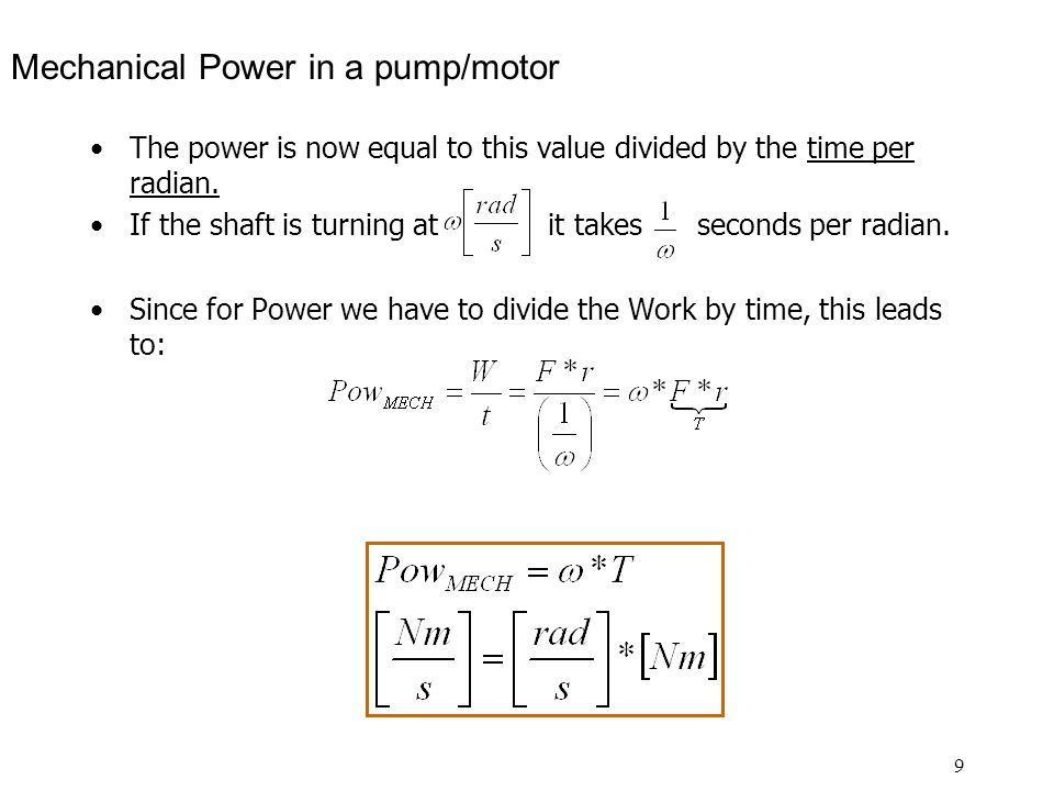 Mechanical Power in a pump/motor