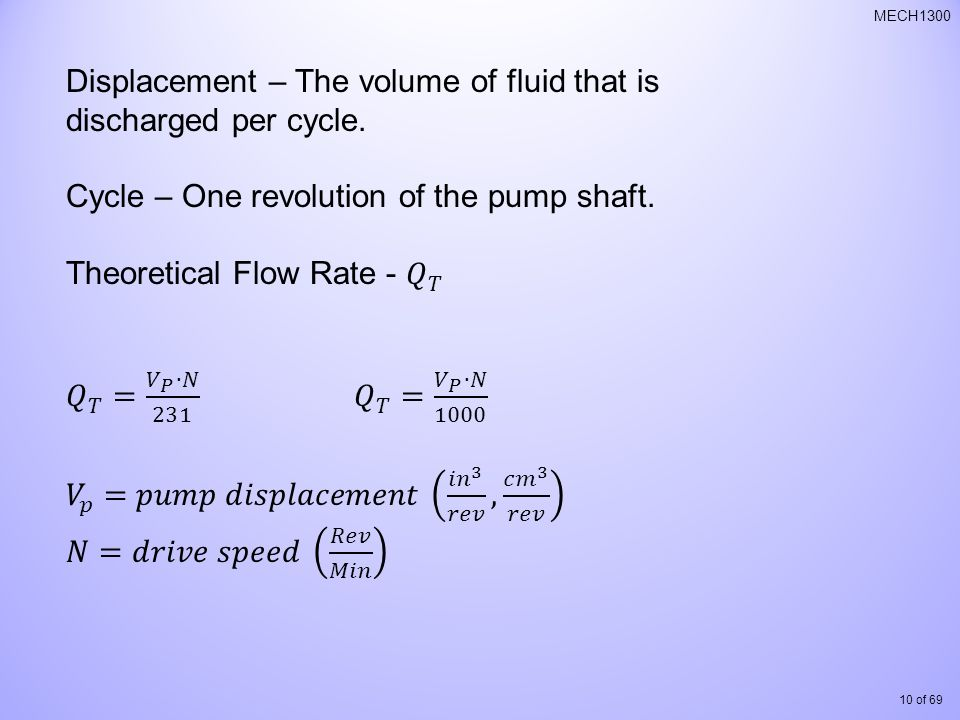 Displacement – The volume of fluid that is discharged per cycle.
