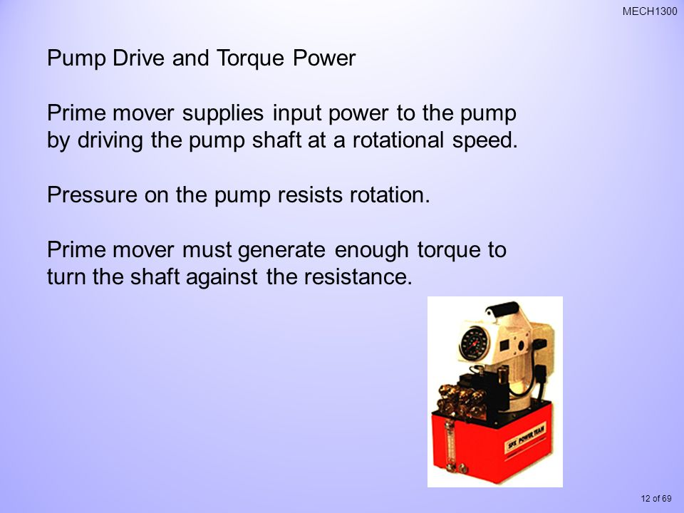 Pump Drive and Torque Power