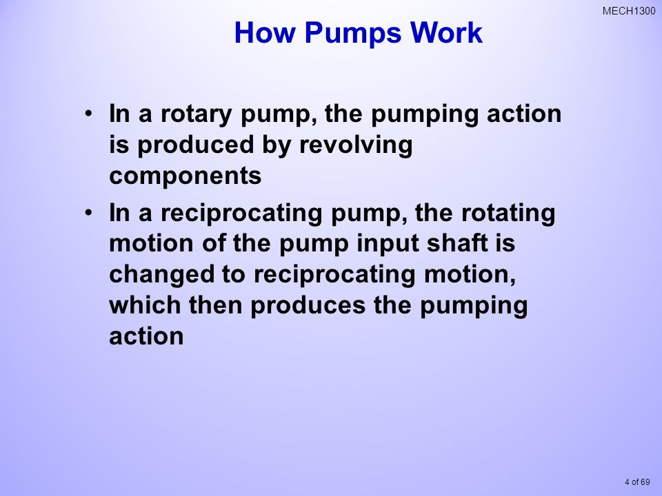 How Pumps Work In a rotary pump, the pumping action is produced by revolving components.