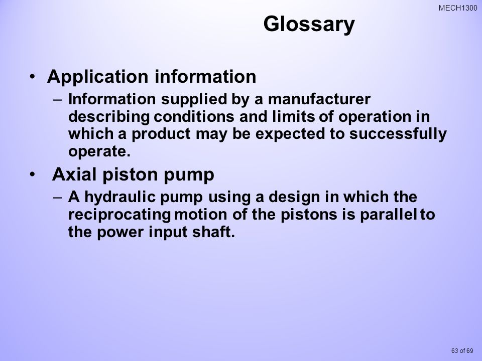 Glossary Application information Axial piston pump