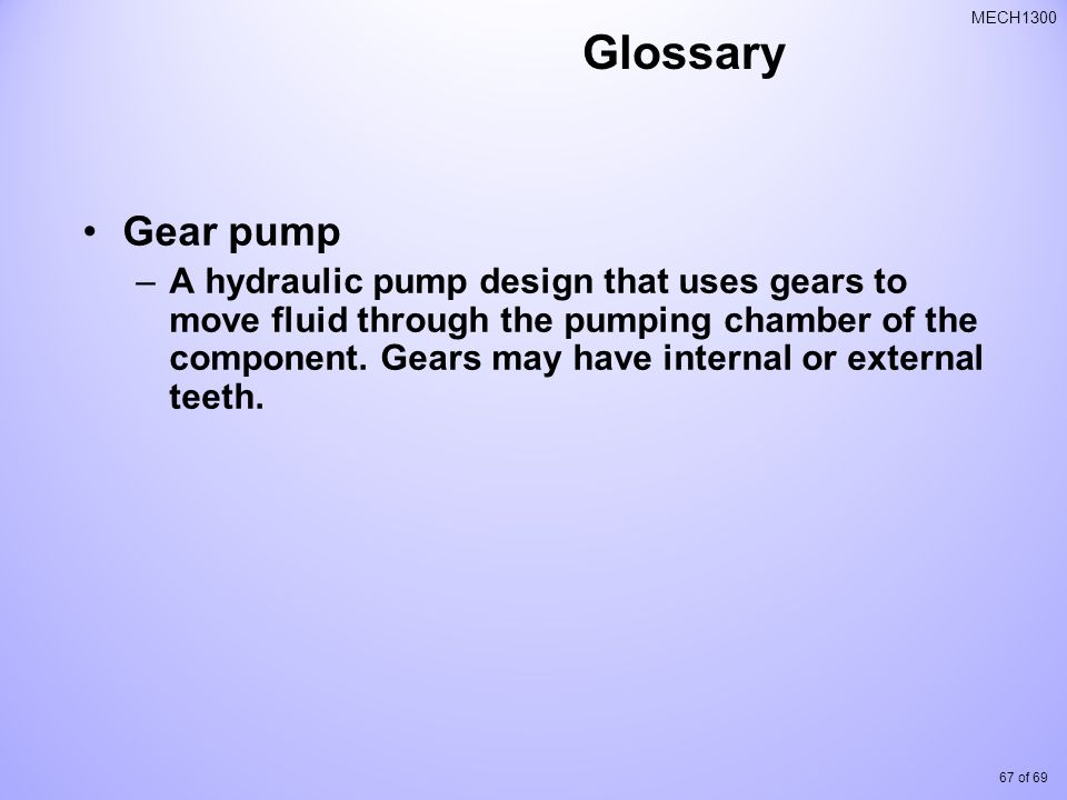 Glossary Gear pump.