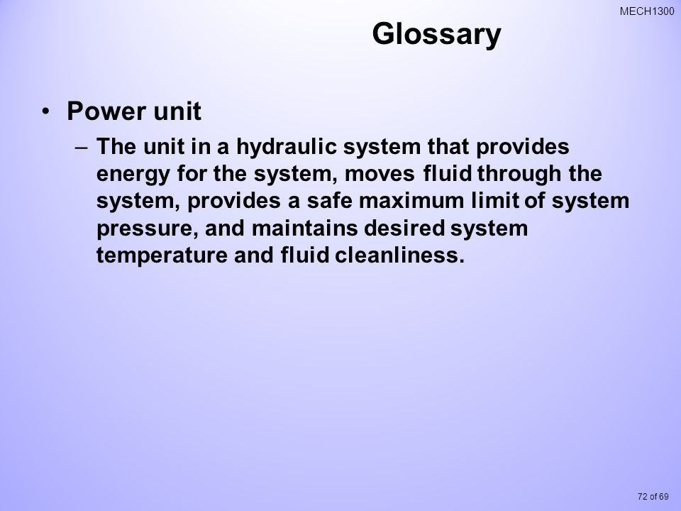 Glossary Power unit.