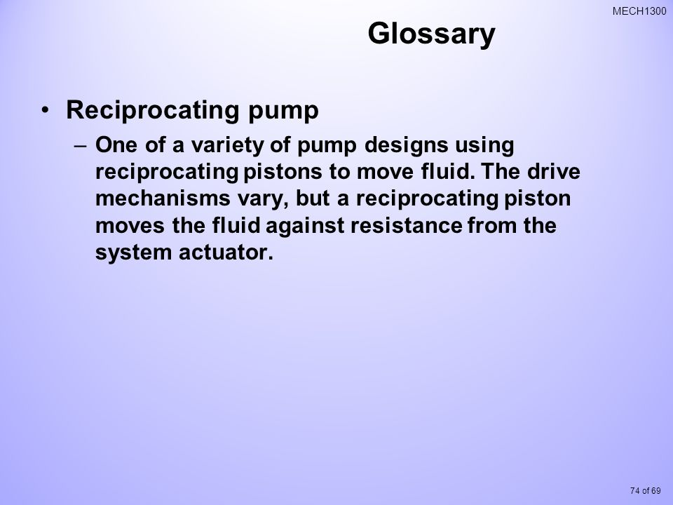 Glossary Reciprocating pump