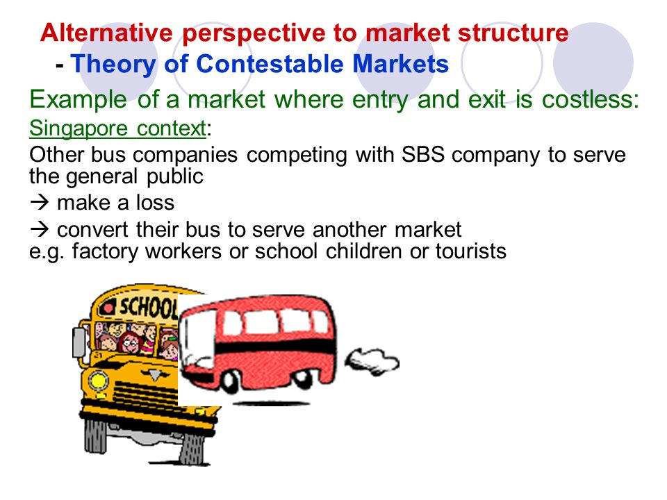 the theory of the contestable market Fectly contestable market is designed to provide a benchmark that applies in markets for which the concept of perfect competition is not very useful an oligopolistic or even a monpolistic industry can be perfectly contestable.