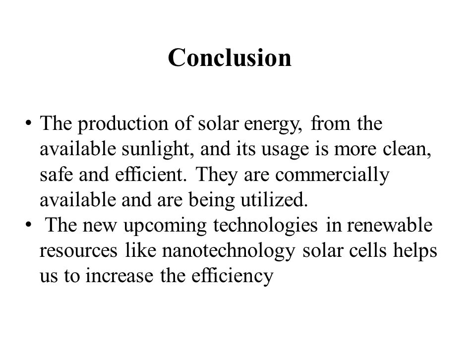 conclusion of solar energy