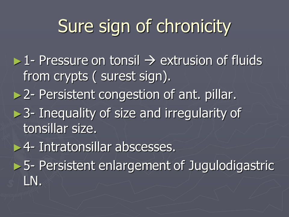 Sure sign of chronicity