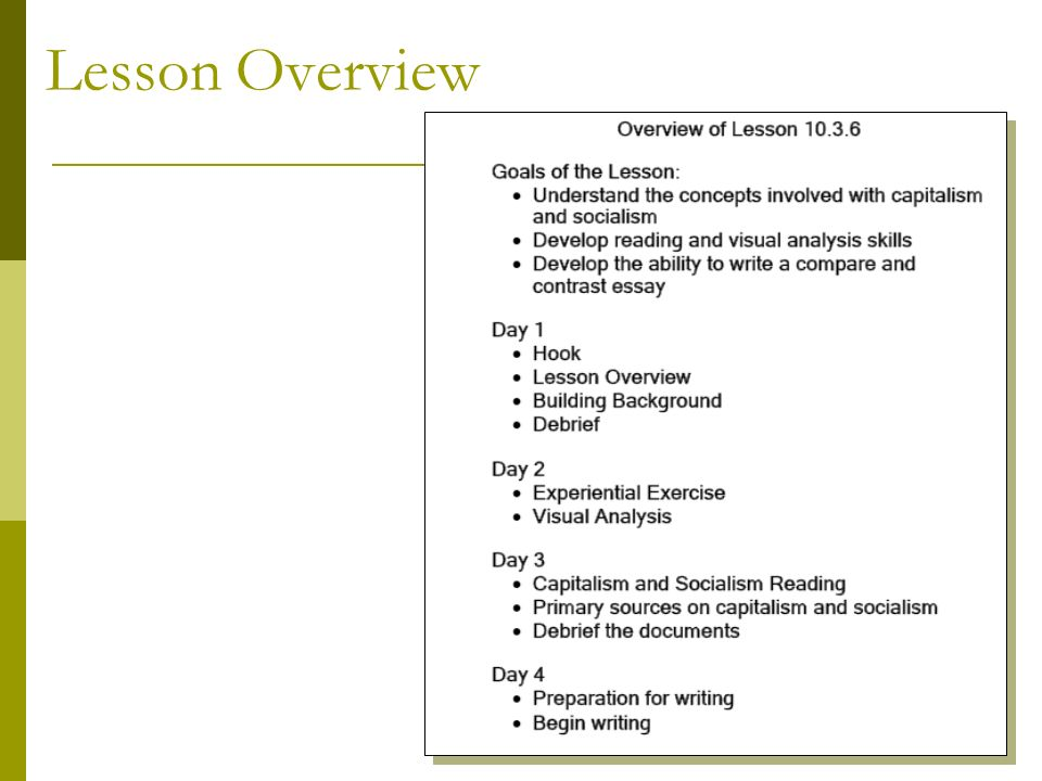 model lesson capitalism and socialism ppt 7 lesson overview