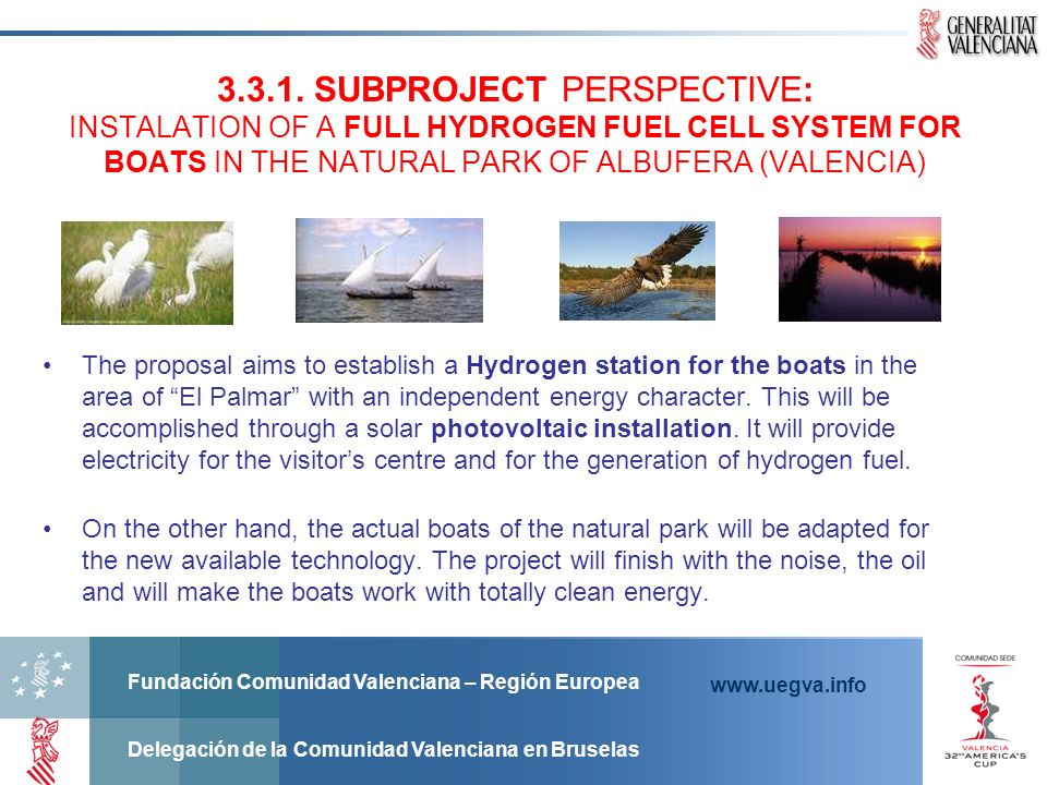 3.3.1. SUBPROJECT PERSPECTIVE: INSTALATION OF A FULL HYDROGEN FUEL CELL SYSTEM FOR BOATS IN THE NATURAL PARK OF ALBUFERA (VALENCIA)