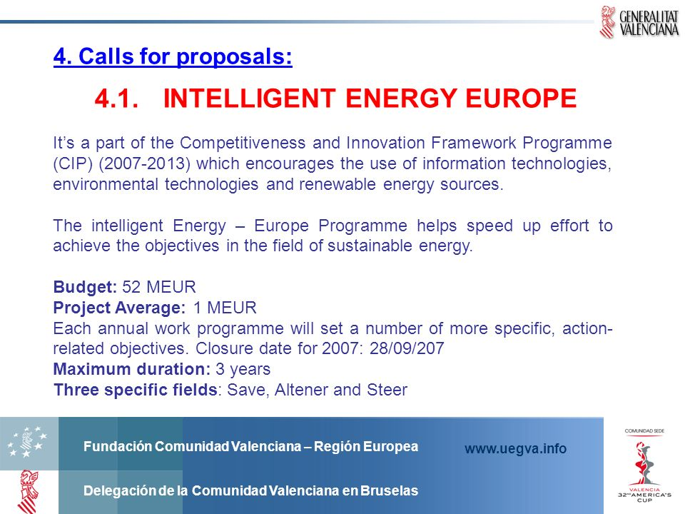 4.1. INTELLIGENT ENERGY EUROPE