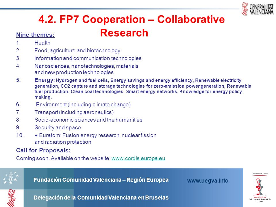 4.2. FP7 Cooperation – Collaborative Research